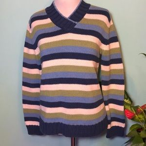 Liz Claiborne color block thick knit Sweater Sz P
